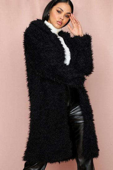 Black Long Line teddy fluffy coat