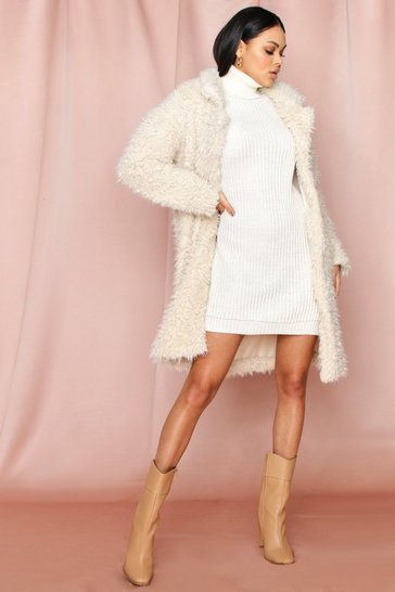 Cream Long Line teddy fluffy coat