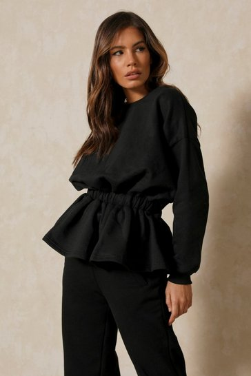 Black Elasticated Drop Waist Peplum Sweatshirt