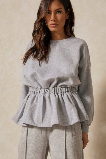 Grey Elasticated Drop Waist Peplum Sweatshirt