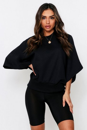 Black Drop Crop Sleeve Oversized Sweatshirt