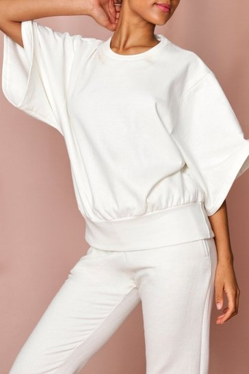Cream Drop Crop Sleeve Oversized Sweatshirt