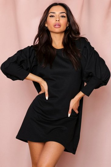 Black Puff Sleeve Oversized Sweatshirt Dress