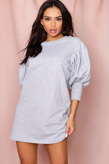 Grey Puff Sleeve Oversized Sweatshirt Dress