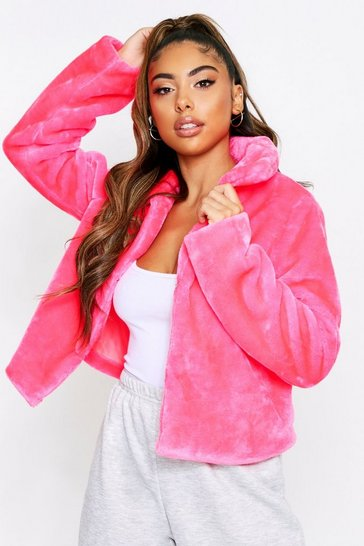 Pink Neon Cropped Faux Fur Jacket