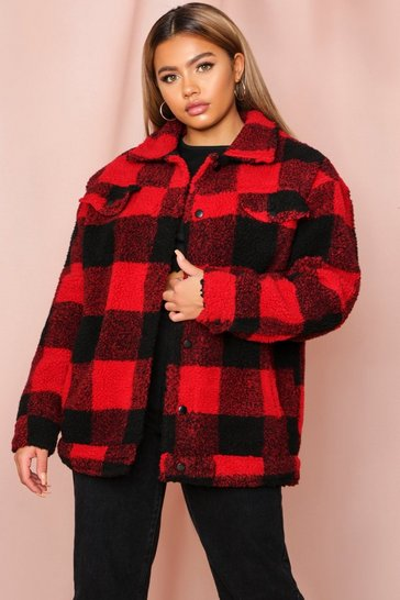Red Check Borg Jacket