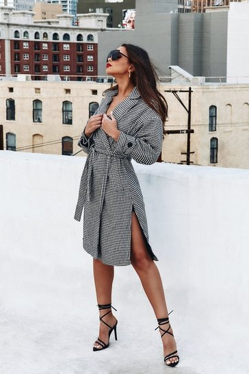 Blackwhite Dogtooth Longline Maxi Coat