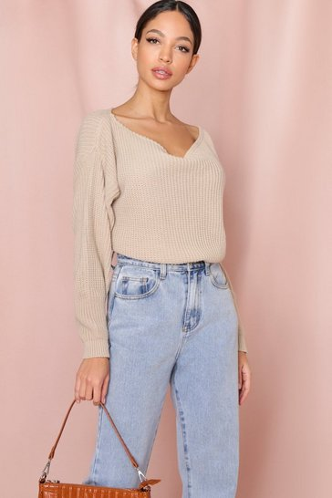 Stone Slash Neck Cable Jumper