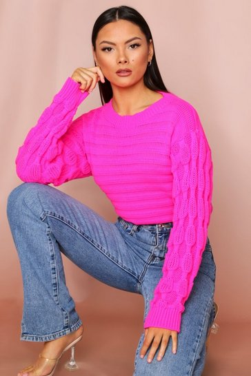 Bubblegum Bubble Sleeve Oversized Jumper