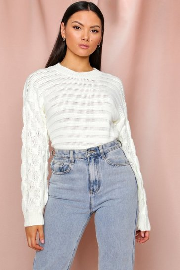 Cream Bubble Sleeve Oversized Jumper