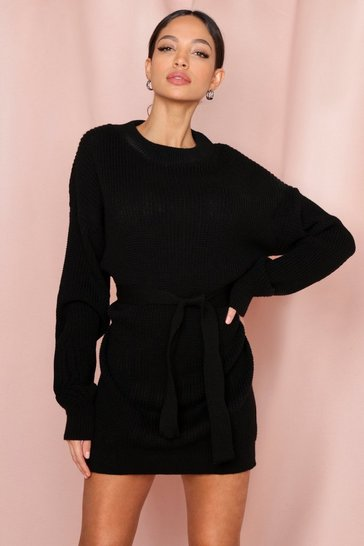 Black Belted Rib Knitted Jumper Dress
