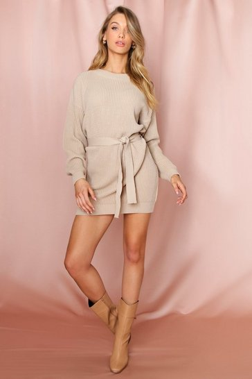 Stone Belted Rib Knitted Jumper Dress