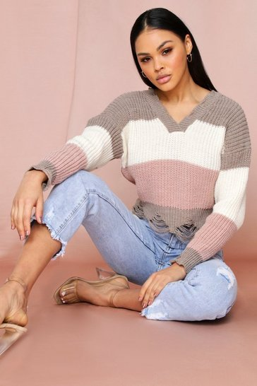 Stripe Ladder V Neck Knitted Jumper