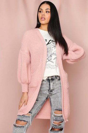 Blush Longline Chunky Pocket Front Cardigan