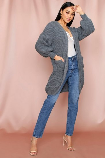 Grey Longline Chunky Pocket Front Cardigan