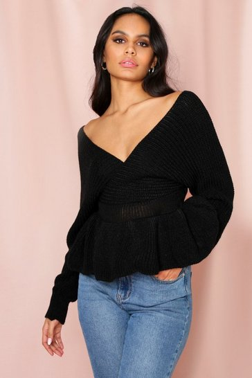 Black Wrap Peplum Knitted Jumper