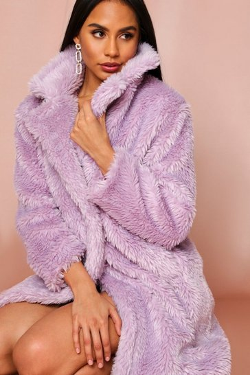 Lilac Teddy Faux Fur Midi Coat
