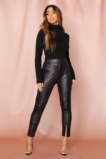 Black Leather look Seam Detail Trousers