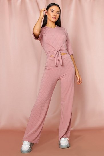 Dusky pink Twist Front Wide Rib Lounge Set