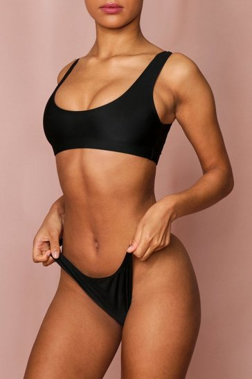 Black Scoop Neck Ruched Back Bikini Set