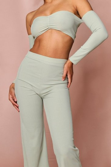 Dusty green Ribbed Bardot Croped Top + Wide Leg