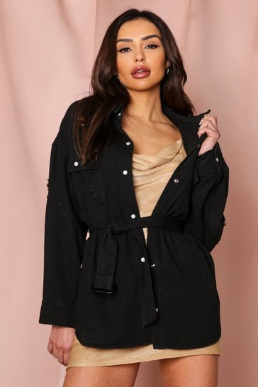 Black Oversized Distressed Belted Denim Jacket