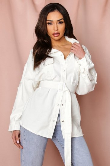 White Oversized Distressed Belted Denim Jacket