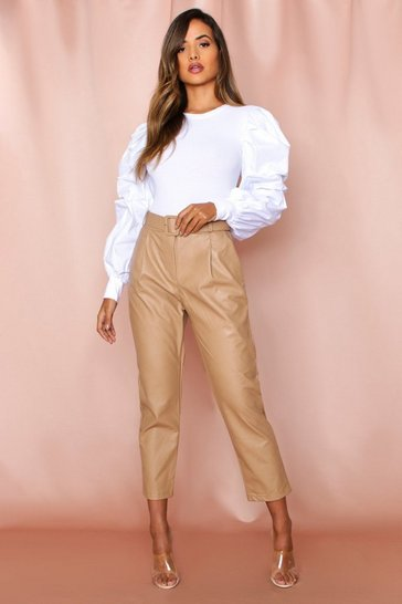 Beige High Waisted Faux Leather Belted Pants