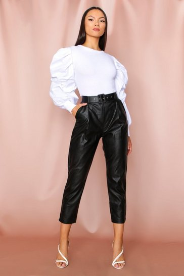 Black High Waisted Faux Leather Belted Pants