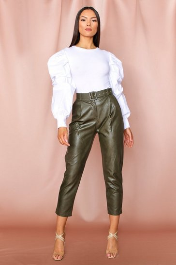 Khaki High Waisted leather look Belted Trousers