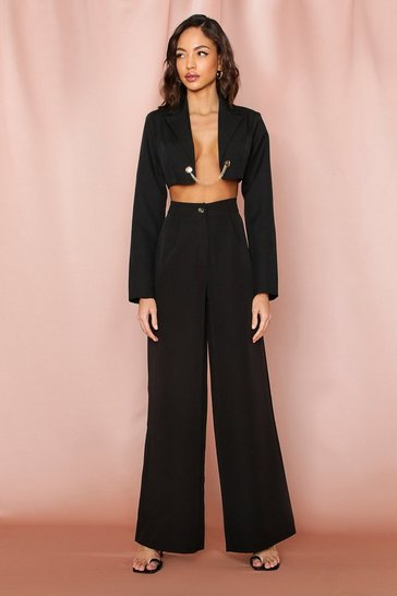 Black Tailored Button Front Wide Leg Pants