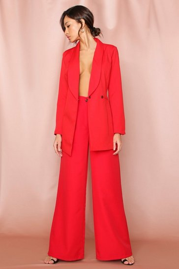 Red Tailored Button Front Wide Leg Pants