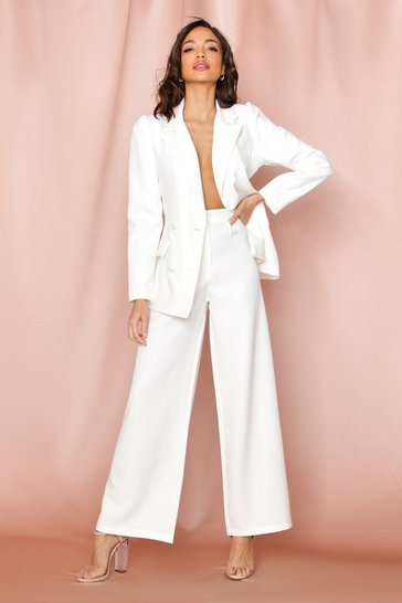White Tailored Button Front Wide Leg Trouser