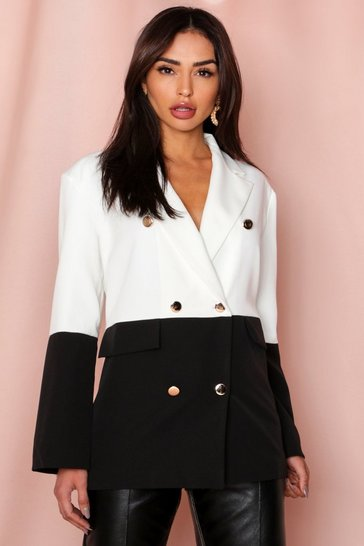Black Double Breasted Oversized Colour Block Blazer