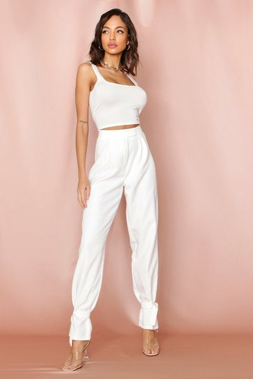 White Ankle Tie Tailored Pleat Front Pants