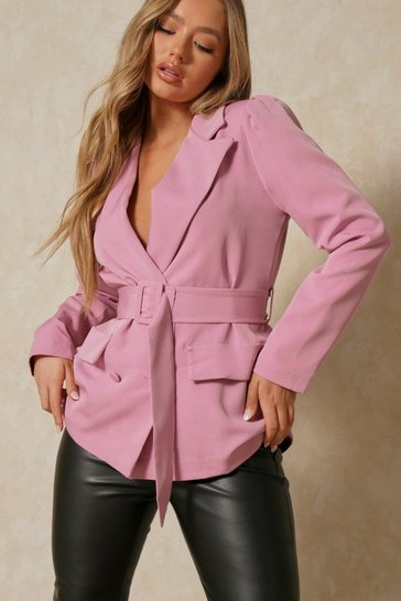 Blush Belted Puff Sleeve Double Breasted Blazer