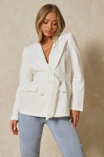 White Belted Puff Sleeve Double Breasted Blazer