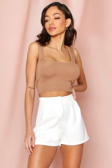 White High Waisted Pleat Front Short