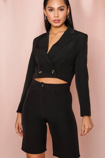 Black Cropped Double Breasted Tailored Blazer