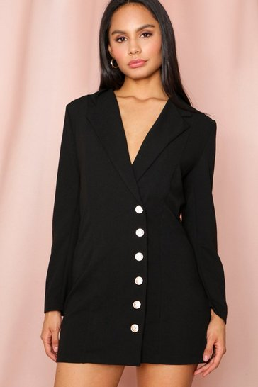 Black Gold Button Side Blazer Dress