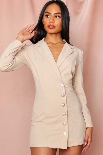 Stone Gold Button Side Blazer Dress