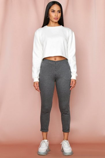 Grey Pinstriped Tailored Trousers