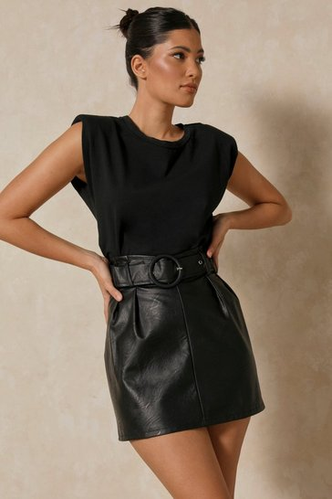 Black Leather look Buckle Belt Mini Skirt