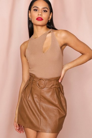 Camel Leather look Buckle Belt Mini Skirt
