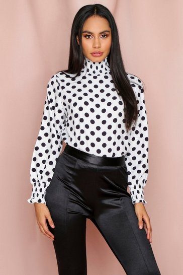 White Shirred High Neck Polka Dot Blouse