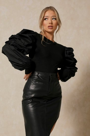 Black Extreme Puff Sleeve Ribbed Top