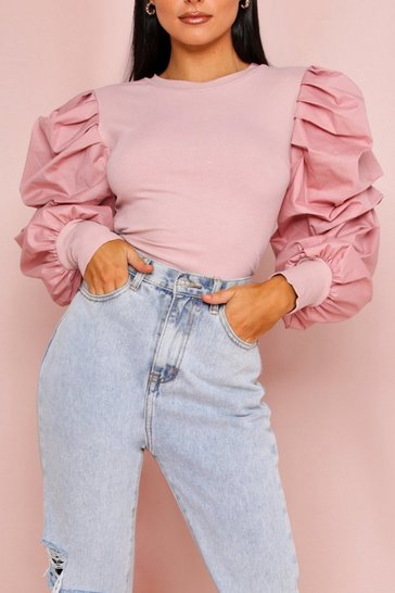 Blush Extreme Puff Sleeve Ribbed Top