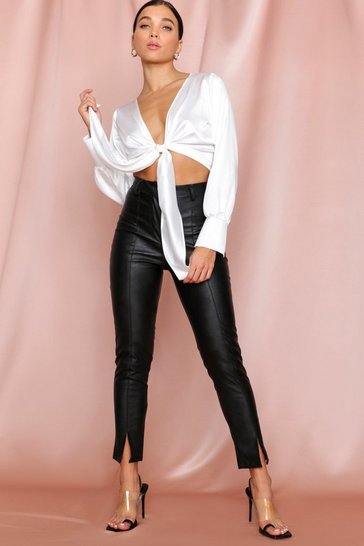 Black Split Front Leather look Skinny Trouser
