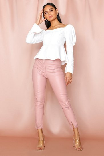 Pink Split Front Leather look Skinny Trouser