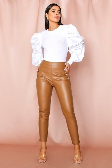 Camel Military Button Leather look Skinny Trouser